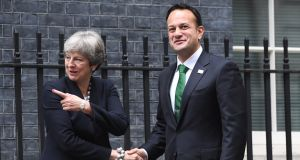 Britain's prime minister Theresa May welcomes Taoiseach Leo Varadkar to number 10 Downing Street prior to their meeting on Monday. Photograph: Facundo Arrizabalaga/EPA