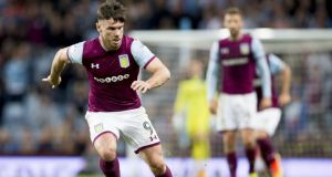 Aston Villa striker Scott Hogan could be named in the Ireland squad for the World Cup qualifiers against Moldova and Wales. Photograph:  Neville Williams/Aston Villa FC via Getty Images