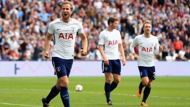 Harry Kane of Tottenham Hotspur celebrates scoring against West Ham United last weekend. Photograph: Stephen Pond/Getty Images