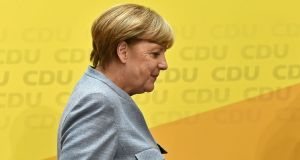 German chancellor Angela Merkel of the Christian Democratic Union at a press conference in Berlin. Photograph: Christian Bruna/EPA