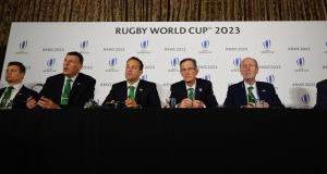 The Irish delegation at the press conference where Ireland presented their bid to host the 2023 Rugby World Cup. Photo: Glyn Kirk/Getty Images