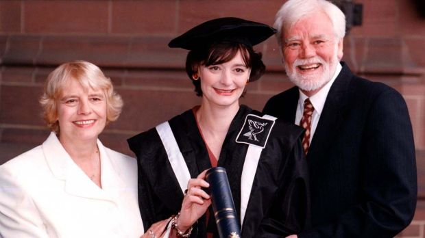 Cherie Booth with her parents Gale and Tony Booth after receiving an honorary fellowship from John Moore's University. in 1997. Photograph: Peter Wilcock/PA Wire