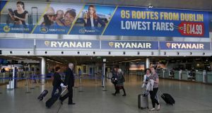 Ryanair signage at Dublin Airport. The airline was ranked fourth in the survey of customer satisfaction.