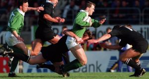 Neville Furlong in action for Ireland during the 1992  tour of New Zealand. Photograph: Billy Stickland/Inpho