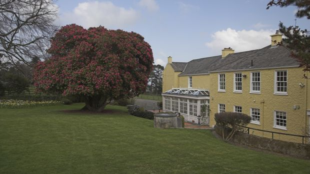 Ballinteskin Stud features a good-sized garden with lots of mature trees and bushes to one side of the house.
