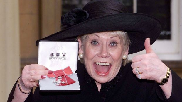 Liz Dawn at Buckingham Palace after she received an MBE. Photograph: Sean Dempsey/PA Wire