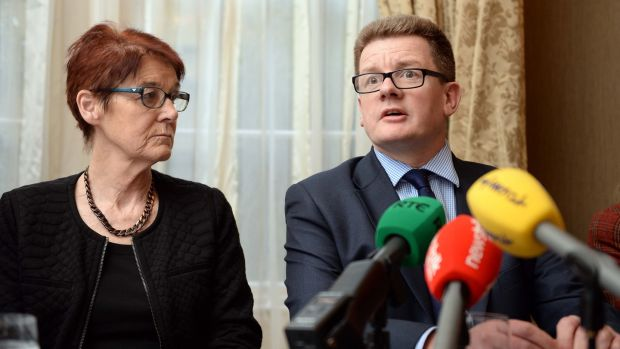 Gerry Edwards (right) of TFMR Ireland with abortion rights campaigner Ailbhe Smyth. Photograph: Eric Luke / The Irish Times