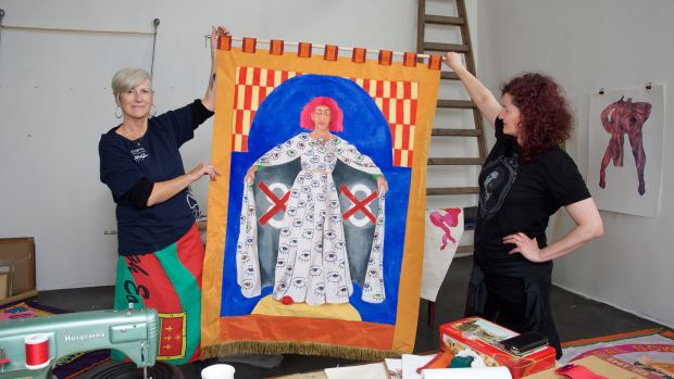 Artists Alice Maher and Rachel Fallon making banners for the Artists' Campaign to Repeal the Eight Ammendment. Photograph: Alison Laredo