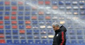 Manchester United manager Jose Mourinho at a  training session at the Stadion CSKA Moscow ahead of Wednesday's Champions League game. Photograph: Kirill Kudryavtsev/AFP/Getty Images