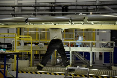 WINGMAN: Working on a C Series aeroplane wing at the Bombardier factory in Belfast. Photograph: Clodagh Kilcoyne/Reuters