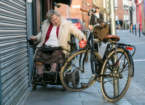 MAKE WAY DAY: Joan Bradley shows the dangers posed by everyday obstacles for people with disabilities, as part of a campaign for an annual Make Way Day. Photograph: Paul Sherwood