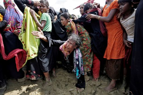 ROHINGYA CRISIS: Refugees in a scuffle to receive aid at Cox's Bazar, in Bangladesh, after fleeing Myanmar's campaign of ethnic cleansing. Photograph: Cathal McNaughton/Reuters