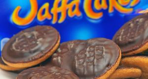 A view of a plate of Jaffa Cakes. Photograph: Clive Gee/PA Wire