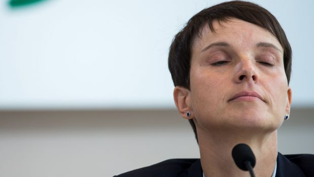 One of the AfD MPs was absent in Berlin on Tuesday: party co-leader Frauke Petry (above) resigned after announcing her parliamentary party departure. Her move, she said, was in protest at the extremist language in the party she herself radicalised two years ago. Photograph: Monika Skolimowska/AFP/Getty Images