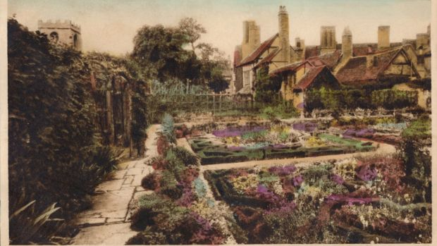 A vintage postcard by J Salmon showing Shakespeare's Knot Garden in Stratford-Upon-Avon, circa 1910. Photograph: Getty Images