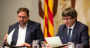 There has  been speculation that Catalan president Carles Puigdemont (right) might issue a unilateral declaration of independence. Photograph: EPA/Quique Garcia