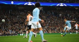 Manchester City midfielder Kevin De Bruyne opens the scoring in the Champions League game against  Shakhtar Donetsk at Etihad Stadium. Photograph: Laurence Griffiths/Getty Images