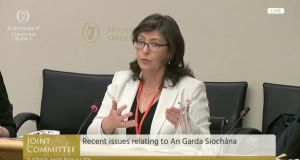 Head of Policing Authority Josephine Feehily addresses the joint Oireachtas Committee on Justice on September 27th, 2017.