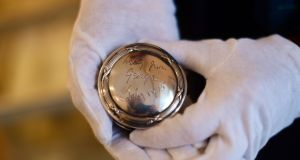 A silver box, a gift to William Butler Yeats from his wife George in 1915. Photograph: Bryan O'Brien