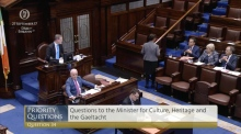 Mary Lou McDonald approaches Taoiseach after clash in the Dail