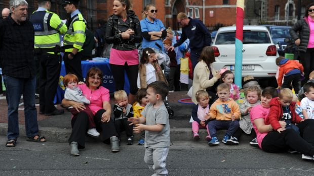 Children and parents having fun during the Playful Street event on Sherrif Street. Photograph: Aidan Crawley