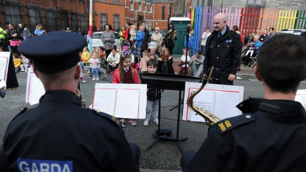 Members of the the Garda band during the Playful Street event. Photograph: Aidan Crawley