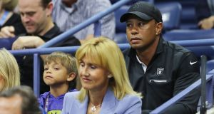 Tiger Woods  and his son Charlie Axel Woods  attending the US Open  at Flushing Meadows in New York. in New York. Photograph: Elsa/Getty