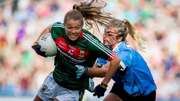 Mayo's Sarah Rowe is tackled by Dublin's Martha Byrne at Croke Park. Photograph: Morgan Treacy/Inpho