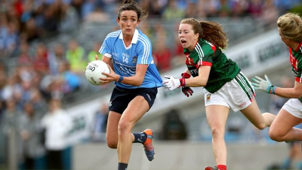 Dublin's Nimah McEvoy is tackled by Mayo's Sarah Tierney during the All-Ireland final at Croke Park. Photograph: Ryan Byrne/Inpho