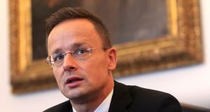 "Hungarian foreign minister Peter Szijjarto: ""Hungary will block all steps within the European Union that would represent a step forward in Ukraine's European integration process.""  Photograph: Bernadett Szabo/Reuters"