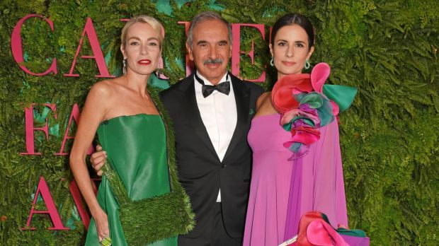 Stefania Rocca, Carlo Capasa, president of the Camera Nazionale della Moda Italiana and Livia Firth attend the Green Carpet Fashion Awards. Photograph: Getty