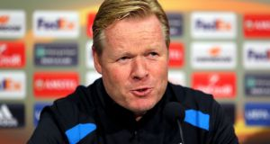 Everton manager Ronald Koeman during a press conference at Finch Farm in Liverpool. Photograph: Richard Sellers/PA Wire