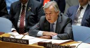 "United Nations secretary-general Antonio Guterres: ""Sexual exploitation and abuse has no place in our world. It is a global menace and it must end."" Photograph: Lucas Jackson/Reuters"