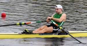 Ireland's Paul O'Donovan on his way to winning his quarter-final at the  World Rowing Championships in Sarasota, Florida. Photograph: Detlev Seyb/Inpho