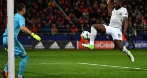 Romelu Lukaku  scores his second and of Manchester United's third goal during the  Champions League  match against  CSKA Moscow at WEB Arena. Photograph: Dan Mullan/Getty Images