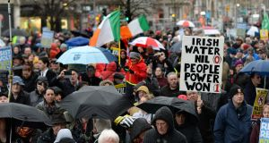 A file image of thousands of people attending a Right 2 Water protest in Dublin last year. Photograph: Cyril Byrne/The Irish Times.