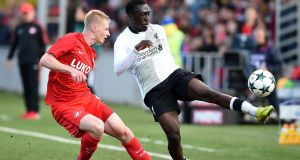 Bobby Adekanye in action against Spartak Moskva during their Uefa Youth League match. Photograph: Getty Images