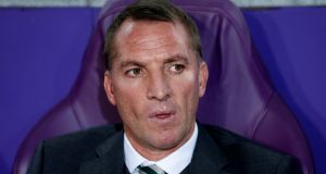 Celtic manager Brendan Rodgers watches his team beat Anderlecht. Photograph: Francois Lenoir/Reuters