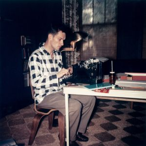 An undated photograph of Hugh Hefner at a typewriter. Photograph: Playboy/PA Wire