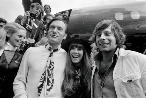 August 21st, 1970: Hugh Hefner (L); his girlfriend, the actress Barbara Benton; and film director Roman Polanski (R) arriving at Le Bourget airport with the Playboy jet 'Big Bunny'. Photograph: AFP/Getty Images
