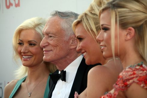 June 8th, 2007. From left: playmate Holly Madison, Hugh Hefner, Playmate Bridget Marquardt and Playmate Kendra Wilkinson arriving for the 35th AFI Life Achievement Award tribute for Al Pacino held at the Kodak Theatre in Hollywood, California. Photograph: AFP/Getty Images