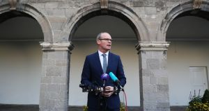 Minister for Foreign Affairs Simon Coveney speaking to the media ahead of the All-Island Civic Dialogue on Brexit at Royal Hospital Kilmainham on Thursday. Photograph: Brian Lawless/PA Wire