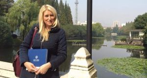 Holly Cowman visiting one of Mary Immaculate College's Erasmus+ partner universities, East China Normal University, in Shanghai