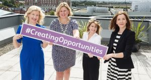 Catherine Moroney, head of business banking at AIB; Network Ireland president Rebecca Harrison; CRC chief executive Stephanie Manahan; and Priscilla O'Regan, head of communications at BT, launching  Network Ireland's Creating Opportunities conference. Photograph: 1IMAGE/Bryan Brophy