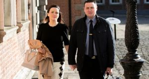 Marisa Simms and Garda  Keith Harrison  arriving at the Charleton Tribunal in Dublin Castle. Photograph: Gareth Chaney/Collins