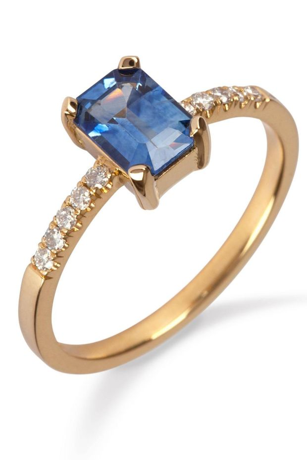 18ct yellow gold ring with sapphire and diamond €3,400 from MoMuse, Powerscourt Centre, Dublin