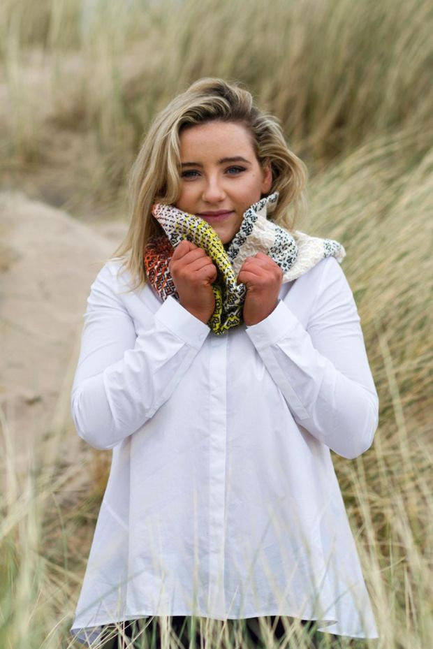 "Handwoven lambswool cowl ""Rising Sun"" from Wild Cocoon by Deirdre Duffy €95."