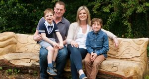Patricia Noonan with her husband Philip, and sons Shay (7) and PJ (11)