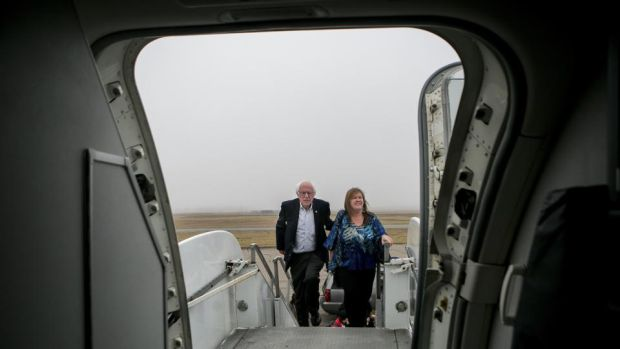 Presidential campaign: Bernie and Jane Sanders in 2016. Photograph: Sam Hodgson/New York Times