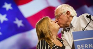 Political couple: Jane and Bernie Sanders in Los Angeles in 2015. Photograph: Patrick T Fallon/Bloomberg